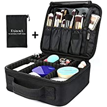 Travel Makeup Bag, ESARORA Portable Travel Makeup Cosmetic Case Organizer Artist Storage Bag with Adjustable Dividers for Cosmetics Makeup Brushes Toiletry Jewelry Digital Accessories
