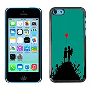 LECELL -- Funda protectora / Cubierta / Piel For Apple iPhone 5C -- Cute Love Art Heart Boy Girl War Fight --