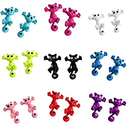 MengPa Cute Small Cat Stud Earrings for Women Girl ( Mix 10 Pair Different Color)