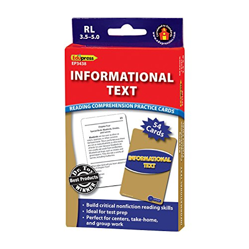 Edupress Reading Comprehension Practice Cards, Informational Text, Blue Level (EP63438)