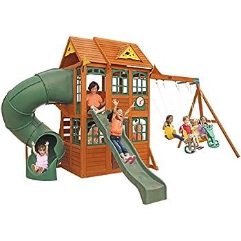 Amazon Com Kidkraft Charleston Lodge Wooden Swing Set