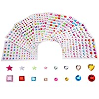 Outus Self-adhesive Rhinestone Sticker Sheets Assorted colors Various Shapes, 4 Size, 8 Sheets, 674 Pieces