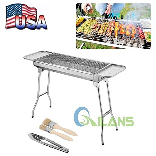 "Party Griller 32"" Stainless Steel Charcoal Grill - Portable BBQ Grill, Yakitori Grill, Kebab Grill, Satay Grill. Makes Juicy Shish Kebab, Shashlik, Spiedini on the Skewer"