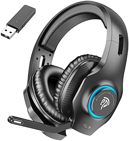 EasySMX Wireless Gaming Headset 2.4GHz with 7.1 Surround Sound Deep Bass & Retractable Noise Canceling Microphone, Wireless Headset with RGB Automatic Gradient Lighting, Suitable for PS4/PS5, PC