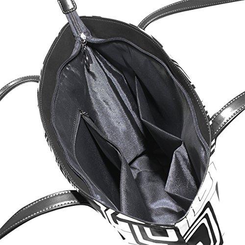 COOSUN Schwarz-Weiß-abstrakte Muster PU Leder Schultertasche Handtasche und Handtaschen Tasche für Frauen