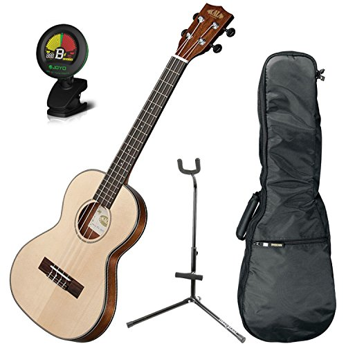Kala KA-SSTU-T Solid Spruce Top Slim Tenor ''Travel Uke'' w/Gig Bag, Tuner, and Uke Stand by Kala