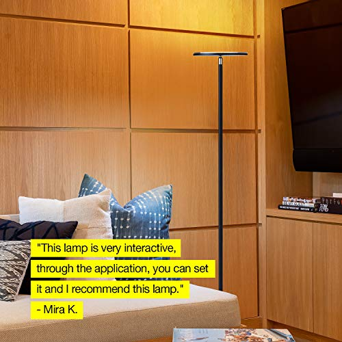 Brightech Kuler Color Changing Torchiere Floor Dimmable Light via & App Lamp Living Rooms & Bedrooms - Pivoting