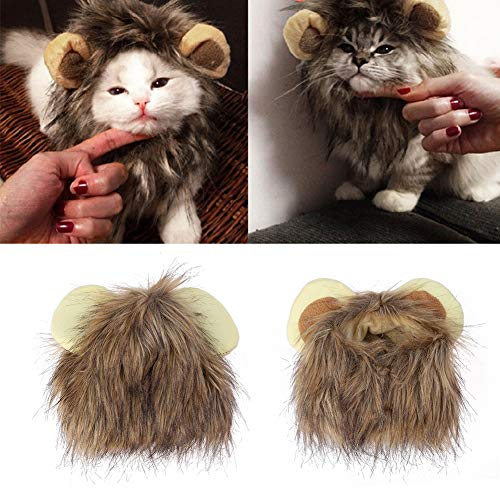 Goodfeng Pet Emulation Lion Hair Mane Cute Ear Pet Hat Cat Dog Cap Headband Headwear Costume for Cosplay Halloween Christmas Festival Party Dressing Up (A) -