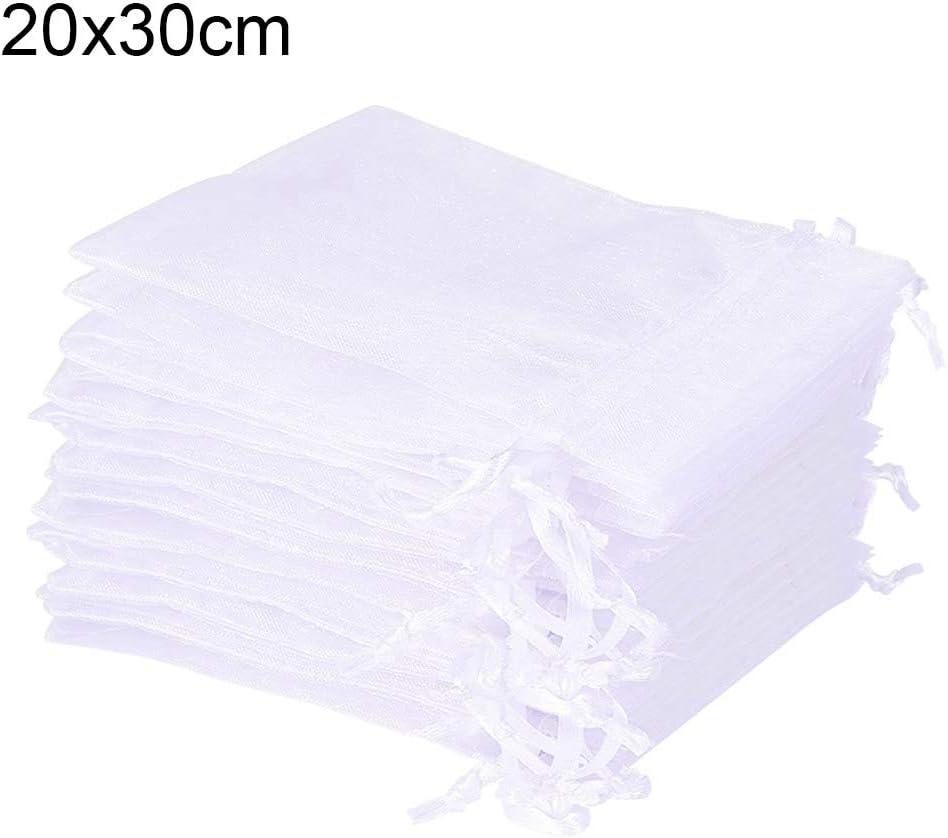 FONLAM 50 Piezas Bolsas de Organza para Joyas Regalo Navidad Cumpleaños Bolsas Blanco Boda Transparente 20 * 30cm