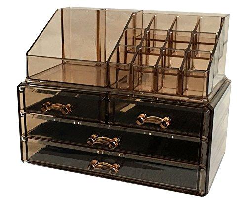 Sodynee Makeup Cosmetic Organizer Cosmetics Organizers Storage Drawers, Two Pieces Set