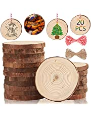 """Artmag Natural Wood Slices 20pcs 3.5""""-4"""" Unfinished Predrilled with Hole Round Wooden Circles DIY Crafts for Arts Rustic Wedding Wood Slices Christmas Ornaments Decor"""