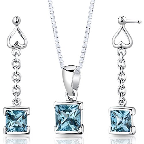 Swiss Blue Topaz Pendant Earrings Necklace Sterling Silver Rhodium Nickel (Deep Blue Turquoise Pendant)