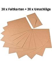 60 piezas papel kraft – Set de tarjetas y sobres de cartón Natural para felicitación de