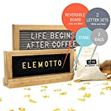Mini Changeable Letter Board Reversible 10 x 4 With Letters & Minimalist Stand Double Sided Message Board 340 White & Gold Letters Symbols & Emojis Solid Oak Frame 2 Canvas Bag by Elemotto
