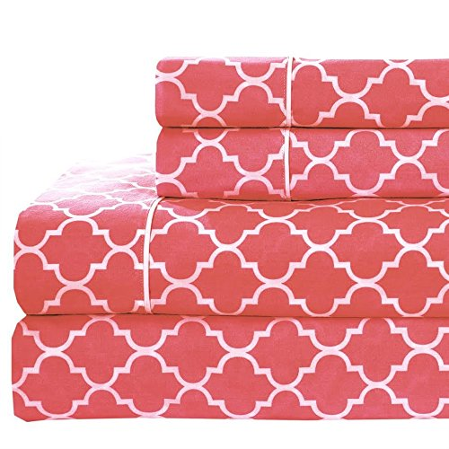 Full size- Coral Printed Meridian 100% Cotton Percale 4pc Sheet set- Modern Reactive Print - Printed Coral