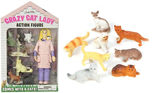 [Action Figures Accoutrements Crazy Cat Lady & 12 Assorted Cats 2.5-inch Playset Toys] (Lady Thor Costumes)
