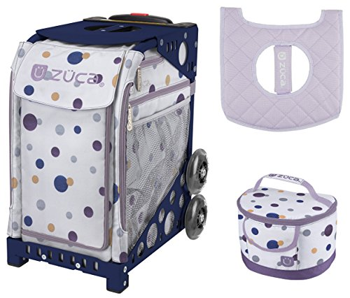Zuca Sport Bag - Confetti with Gift Lunchbox and Seat Cover (Navy Frame) by ZUCA