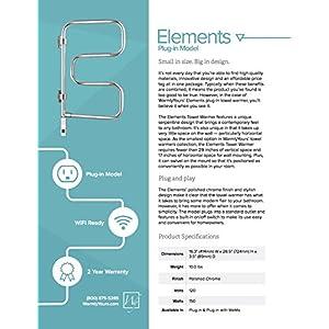 WarmlyYours 4-Bar Elements Towel Warmer, Plug-in, Polished Chrome
