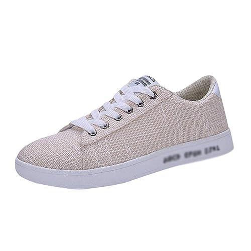 Xinwcanga Hombre Plano Lona Alpargatas Sin Cordones Zapatos de Lona Casuales (Beige, Asia 39