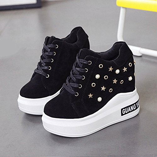 CYBLING Casual Women Anti-slip Rivets Platform Wedge Sneakers with Hidden High Heels Walking Shoes Black XNzj5tXJ