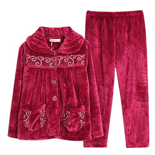 Espesado coral polar pijama en otoño e invierno/ servicio a domicilio franela invierno/ Pijamas cómodos de la señora A