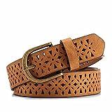 SAIBANGZI Ms Women All Seasons Hollow Needle Buckle Fine Belt Minimalist Casual Decoration Fashion Pants Belt Girlfriend Present Brown 107