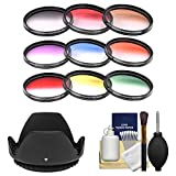 Opteka 9-Piece HD Multi-Coated Graduated Color Filter Set (72mm) with Lens Hood + Kit