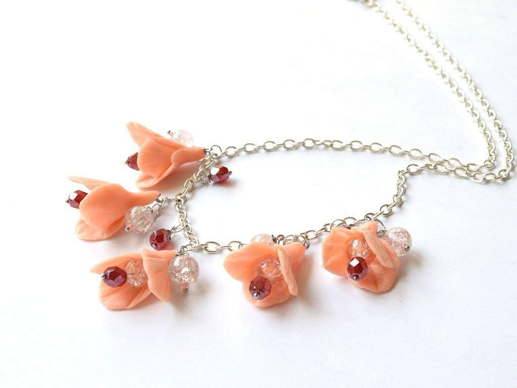 Amazon Com Flower Clay Necklace Floral Jewelry Lily Coral Bead
