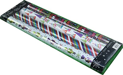 - Kirkland Signature 4 Rolls of Christmas Wrap, Brights