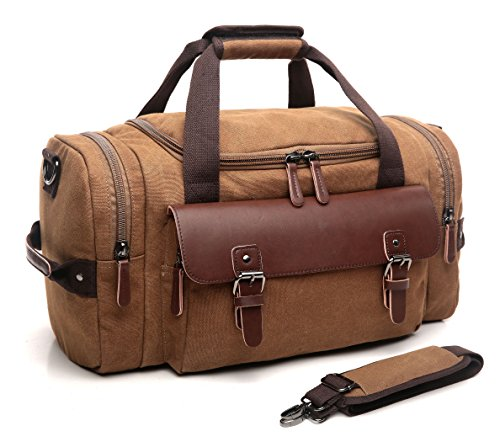 - CrossLandy Canvas Gym Bag for Men Women Leather Overnight Bag Travel Carry on Duffel Sports Weekend Tote Bags