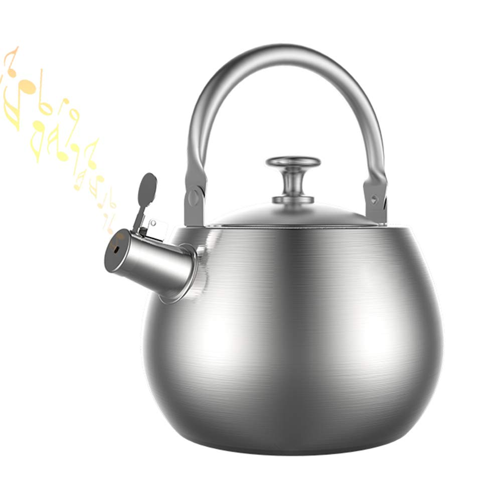 Thickened Whistling Kettles, One-Piece Molding And Hollow Handle Insulation Anti-Scalding, Household Large Capacity 3.5L Silver by KXDLR