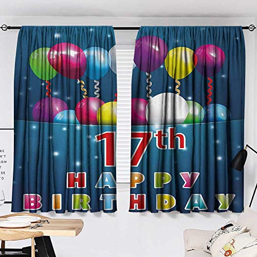 Jinguizi 17th Birthday Curtain Kids Birthday Seventeen with Colorful Balloons on Blue Colored Backdrop Image pop Darkening Curtains Multicolor W55 x L39 by Jinguizi (Image #1)
