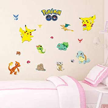 Bdhnmx Pokemon Go Decorative Wall Stickers for Kids Nursery Room Decor DIY Pocket Monster Pikachu Wall