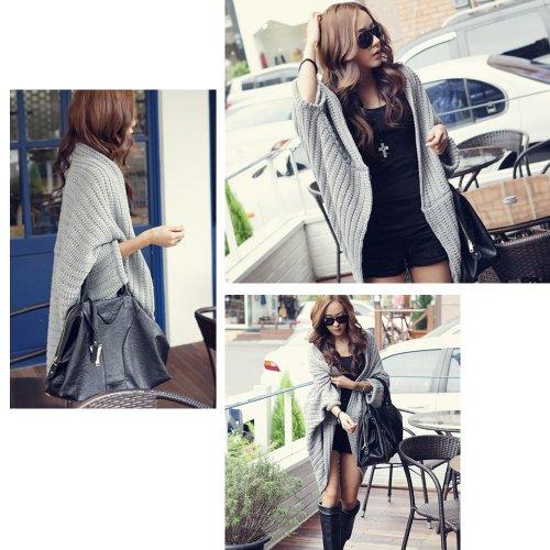 Zicac Women's Batwing Cape Poncho Knit Top Cardigan Long Sleeve Coat Blouse Sweater (Gray)