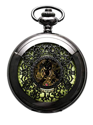 minous Roman Letters Skeleton Mechanical Pocket Watch with Chain ()