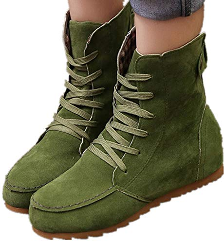 Faionny Women Flat Ankle Boots Lace-Up Boots Suede Leather Shoes Fashion Sneakers Snowshoes Sandals