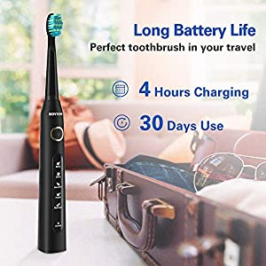 Sonic Technology Electric Toothbrush for Kids and Adults, 2 Minute Timer Powered Rechargeable Toothbrush, 5 Modes 3 Brush Heads, 30 Days Long Battery