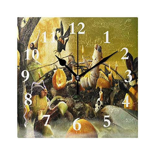 (FunnyCustom Square Wall Clock Halloween Cute Wallpaper 7.8 Inch Creative Decorative for Living)