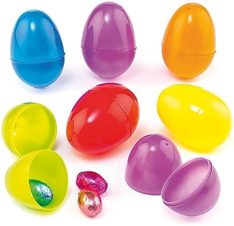 Baker Ross Huevos de Colores Hechos de Plástico Rellenar de Dulces y Ofrecer como Divertidos Premios y Regalos de Fiestas Infantiles (por Pack de 12)