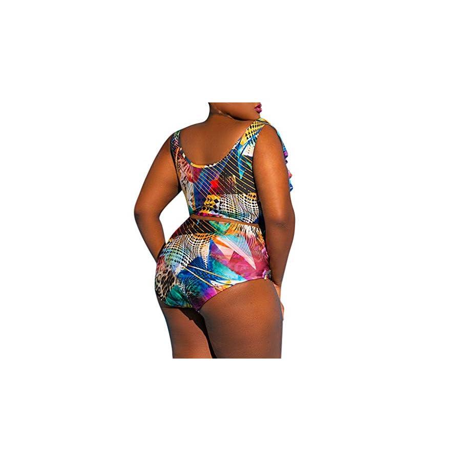 AOJIAN Swimsuits Two Pieces Bikini Sets Monokini Beachwear Plus Size Graffiti Tankini Swimwear Cover Up