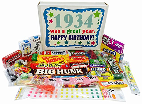 Woodstock Candy 1934 84th Birthday Gift Box of Nostalgic Candy from Childhood for Men and Women