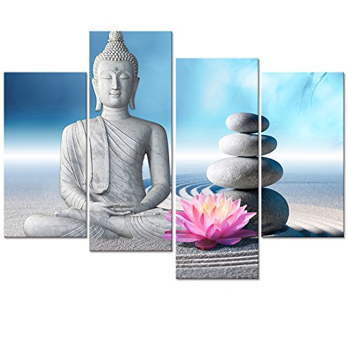 Buddha Canvas Wall Art,Framed and Stretched,Large Size Peaceful Buddha Act with Compassion ,White Sand Zen Stone Canvas Prints,Water-proof,Religious Style Canvas Art (12''x24''x2pcs+12''x32''x2pcs) by Visual Art