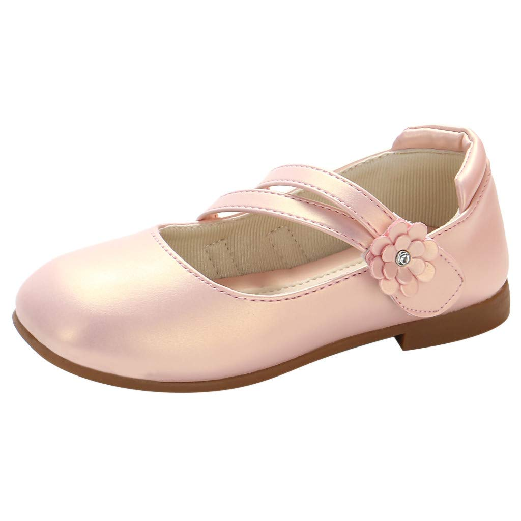 ZOMUSAR Toddler Kids Baby Girls Flower Leather Single Princess Party Shoes Sandals Pink