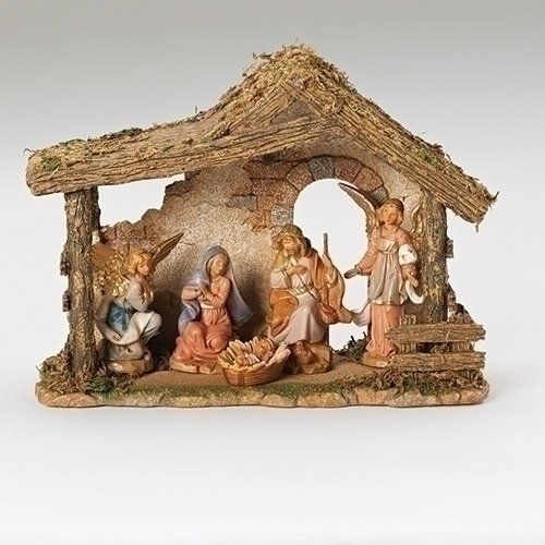 Fontanini 5 Piece Italian Christmas Nativity Set with Stable 54463 Made in Italy by Roman