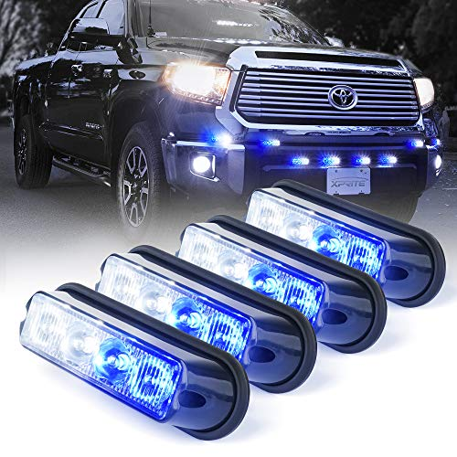 (Xprite White & Blue 4 LED 4 Watt Emergency Vehicle Waterproof Surface Mount Deck Dash Grille Strobe Light Warning Police Light Head with Clear Lens - 4 Pack)