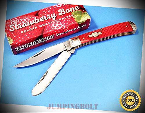 (RR1498 Red Strawberry Bone TRAPPER pocket knife 4 1/8'' closed - Knife for Bushcraft EMT EDC Camping Hunting)