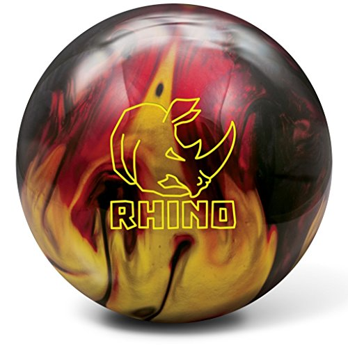 Brunswick Rhino Bowling Ball, Red/Black/Gold, 14 lb (Best Medium Oil Bowling Ball)