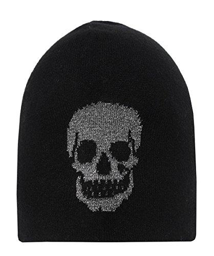 360 Sweater Women's Cashmere Moxie Skull Beanie Hat Black & Metallic One Size by 360SWEATER