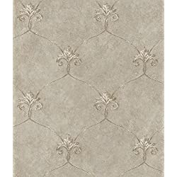 Chesapeake ARS26164 Tuscan Shimmering Ogee Wallpaper, Taupe