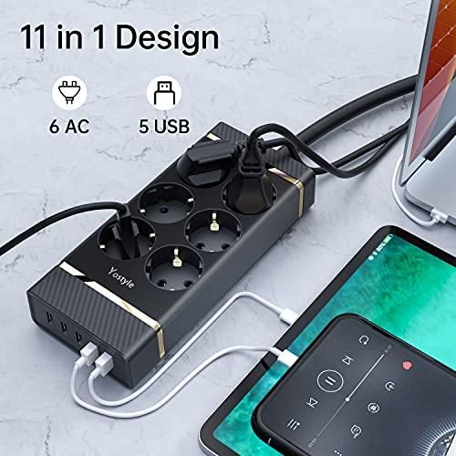 Steckdosenleiste 3M, Mehrfachsteckdosen Überspannungschutz(10A/2400W), 6 Fach & 5 USB Mehrfachstecker Anschrauben Wandmontage(5V/2,4A), Steckerleiste mit Schalter, 3M Kabel für Zuhause Büro Schwarz